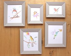 Birds Nursery girls room Gallery Wall Set of 5 Original Art Prints, hummingbird, robin by LittleFellaPrints on Etsy https://www.etsy.com/listing/250615493/birds-gallery-wall-set-of-5-original-art
