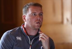Tim Percival, the England team media manager looks on during the England press conference held at Pennyhill Park on February 24, 2017 in Bagshot, England.