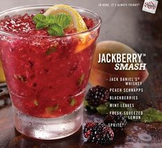 Jack Daniel's® plus Berries equals Awesome Cocktail. Jack Daniel's® Whiskey, peach schnapps, blackberries, mint, fresh-squeezed lemon and Sprite®.