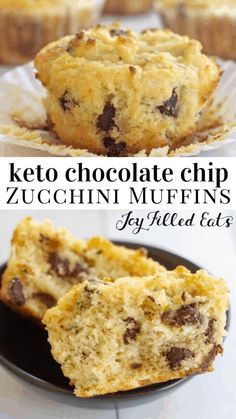 Chocolate Chip Zucchini Muffins - Low Carb Keto Gluten-Free THM S Sugar-Free Grain-Free - My easy chocolate chip zucchini muffins are the perfect recipe to use up all that summer zucchini. They are moist flavorful & full of chocolate chips! Chocolate C Low Carb Dinner Recipes, Low Carb Desserts, Keto Recipes, Dessert Recipes, Diet Desserts, Lunch Recipes, Summer Recipes, Seafood Recipes, Smoothie Recipes