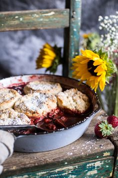 Skillet Strawberry Cobbler with Cream Cheese Swirled Biscuits, a warm delicious way to start (or end) your weekend, from halfbakedharvest.com