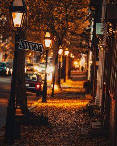 Stunning stroll down an amber adorned street during dusk.