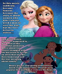 """Here's my Disney meme about Lilo & Stitch vs Frozen, I never liked """"Frozen"""", it has so many flaws and is not that good compared to the beautiful story and animation of """"Lilo & Stitch""""; which by the way has better morals about life, and doesn't need a man to save the day but the love and acceptance that holds family together in life."""
