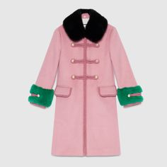 Wool toggle coat with fur