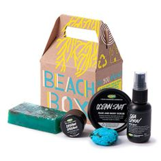 Beach Box from LUSH - Packed with ingredients harvested fresh from the sea (like mineral-rich sea salt and seaweeds), this box contains some of our best selling ocean-inspired essentials to get you squeaky clean, with smooth skin and sexy, wonderfully scented hair. Pour yourself a pina colada and use big, soft beach towels after your bath or shower to really bring the beach to your bathroom!