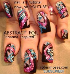 Nail-art by Robin Moses click and find my youtube tutorials for over 100 DIVA NAIL ART DESIGNS.