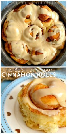 The BEST One-Hour Cinnamon Rolls! So soft and sweet, bursting with spicy cinnamon and brown sugar, and topped with a phenomenal glaze... all start to finish in 60 minutes! #cinnamonrolls #yummy #breakfast