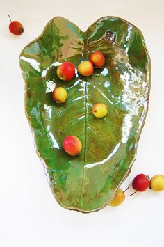 Ceramic bowl green leaf ceramic tray vase for fruit ceramic