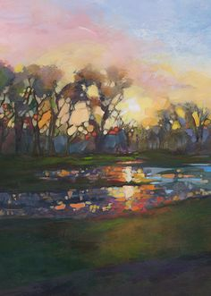 Just Landscape Animal Floral Garden Still Life Paintings by Louisiana Artist Karen Mathison Schmidt: Threshold of Glory fauve post-impressionist style original painting • Louisiana landscape art • pond lake trees at sunrise dawn • professional artist acrylic landscape painting by Louisiana artist