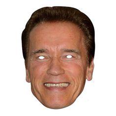 """Laadukas ja täysin aidon näköinen valokuvasta tehty pahvinen muotoon leikattu """"Arnold"""" naamio silmäaukoilla ja joustavalla kiinnitysnarulla. Koko noin 28cm x 20cm. Järjestä kunnon julkkisbileet ja hommaa naamarit kaikille!"""