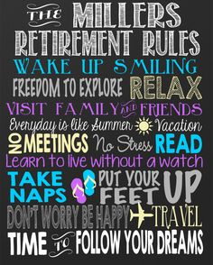 Retirement Rules Chalkboard - Custom retirement board, personalized retired sign - digital file
