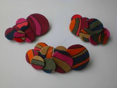 brooches with juice cardboard and recycled fabric