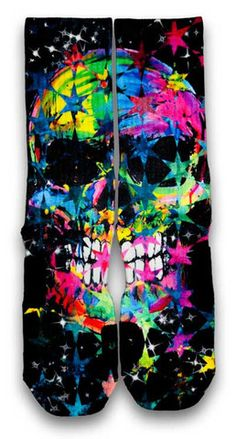 Meet Johnny Nike Custom Elite Sock.  Meet our pal Johnny.  His personality stands out and shines on his own.  Just have a look yourself, he'll smile right back at you.  A colorful representation of a smiling skull on black imprinted with all types of stars.