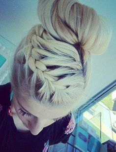 15 Summer Hairstyles From Pinterest - Daily Makeover french braids, french braid into a bun, summer hairstyles braids, french braid hair to side, side french braid hairstyles, summer bun updo, braid bun, urban hairstyles, hair styles side bun