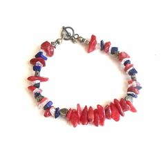 Handmade bracelet red coral chips tiny tiny lapis chips sterling clasp sz 6 1/4 #Pat2 #beaded