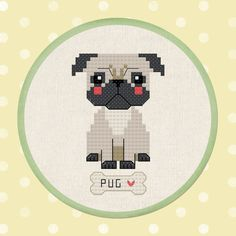 Thrilling Designing Your Own Cross Stitch Embroidery Patterns Ideas. Exhilarating Designing Your Own Cross Stitch Embroidery Patterns Ideas. Modern Cross Stitch, Cross Stitch Charts, Cross Stitch Patterns, Cross Stitching, Cross Stitch Embroidery, Embroidery Patterns, Pug Cross, Cute Pugs, Stitch Kit