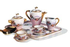 Miniature Limoges Tea Set Pink & White w Gold Trim and Small Floral Motif.