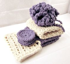 Spa Set, Bath Set, Gift set, Shower Puff, Face Cleansing Pads, Cotton Washcloths, Soap Saver, Crochet Set via Etsy
