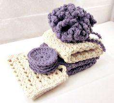 Spa Set, Bath Set, Gift set, Shower Puff, Face Cleansing Pads, Cotton Washcloths, Soap Saver, Crochet Set via Etsy