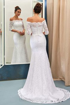 Mermaid Wedding Dresses, Off-the-shoulder Wedding Dress, Lace Wedding Dresses, 3/4 Sleeve Wedding Dresses, Cheap Bridal Gowns