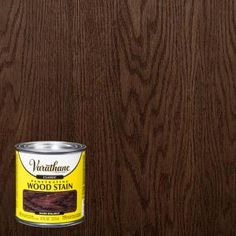 This Varathane Dark Walnut Classic Wood Interior Stain provides a rich natural color that beautifully enhances the wood grain. Staining Wood Floors, Staining Cabinets, Stain On Pine, Dark Walnut Stain, Interior Wood Stain, Stain Furniture, Room Color Ideas Bedroom, Deck Makeover, Stained Table