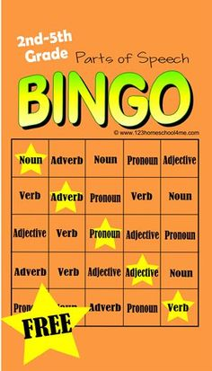 FREE Parts of Speech BINGO! This is such a fun, free printable language arts game to help 2nd grade, 3rd grade, 4th grade, 5th grade, and 6th grade practice identifying noun, verb, adjective, adverb, and pronouns.