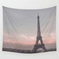 Pink Sunrise Paris Wall Tapestry