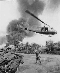 """Great fota from Vietnam! :D departing helicopter """"Huey"""". in the background some pacified village: v Vietnam History, Vietnam War Photos, North Vietnam, Vietnam Veterans, Military Photos, Military History, Military Art, American War, American History"""