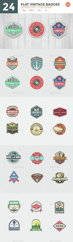 24 Flat Vintage Badge Set - Download…