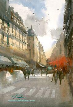"""Paris Morning III"" watercolor by Keiko Tanabe"