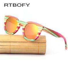 b3682bc64c79 RTBOFY Wood Sunglass Women Cat Eye Polarized Bamboo Bamboo