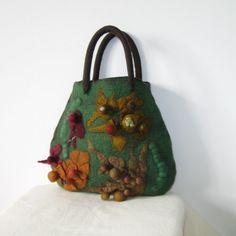Felted Bag Purse Nunofelt Bag Medium Handbag Green by Yadviga