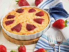 Reisauflauf mit Rhabarber und Erdbeeren