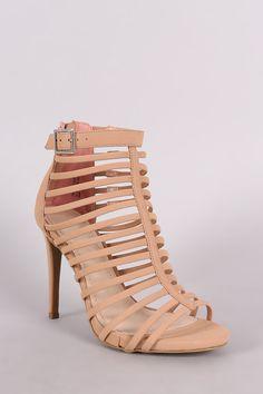 Anne Michelle Nubuck Strappy Buckled Stiletto Heel