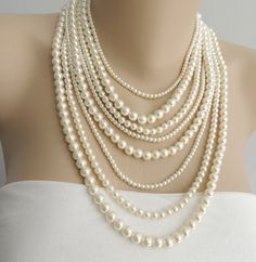 Multi Strand Pearl Necklace - Layer pearl necklace - Statement Necklace - pearl jewelry, chunky necklace, Style number  PN 04