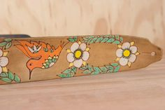 Guitar Strap - Leather Guitar Strap - Colibri - Hummingbird and flowers - Handmade leather in coral green white and antique brown -