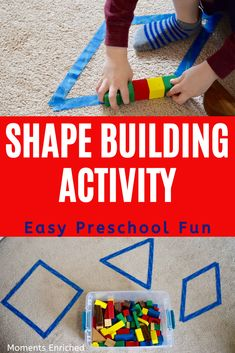 Are you working on shape recognition with your kiddo? This hands-on activity is perfect to give your child some extra practice! Click through to see the whole activity! Nanny Activities, Toddler Learning Activities, Preschool Lessons, Preschool Classroom, Kindergarten Activities, Classroom Activities, Preschool Shape Activities, Early Childhood Activities, Toddler Games