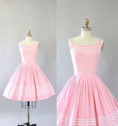 Vintage 50s Dress/ 1950s Cotton Dress/ Light Pink Cotton