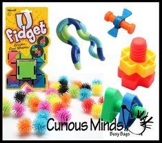 This bundle contains 6 toy fidgets perfect for occupational or physical therapy toolkits. Fidgets are a self-regulation tool used with children who have a difficult time sitting still or focusing. Fid