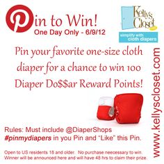 #pinmydiapers @diapershops  One Day Only 06/09/12  www.kellyscloset.com  PinToWin_060912  Love BG 4.0!