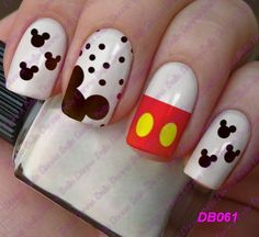 Mickey Mouse Nail Art, Minnie Mouse Nails, Mickey Mouse Nails, Disney Gel Nails, Disney Inspired Nails, Cute Nail Art, Nail Art Diy, Super Cute Nails, Pretty Nails
