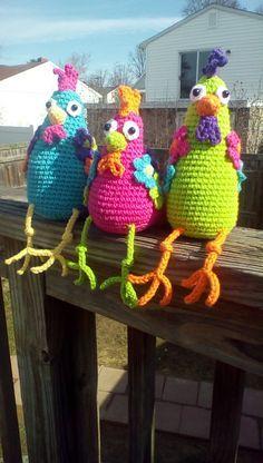 Trío de pollo funky Crochet Amigurumi patrón PDF