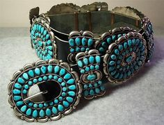 VICTOR-MOSES-BEGAY-Navajo-Sterling-Silver-Turquoise-Cluster-Old-Pawn-Concho-Belt
