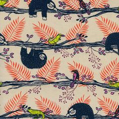 Look at their cute little sloth mouths! I love Sarah Watts fabric so much! Honeymoon - Lazy Day Sloth (Natural   Red)   Cotton