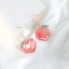 Pink Peaches Earrings/Clips ●Material: 925 Sterling ●About Shipping: We attach great importance to the orders of each customer and parcel delivery. Kawaii Accessories, Kawaii Jewelry, Jewelry Accessories, Ear Jewelry, Cute Jewelry, Jewlery, Geode Jewelry, Funky Jewelry, Vintage Jewellery