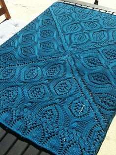 Free knitting pattern for Serenity Blanket and more cable afghan knitting patterns  - with lace and leaf motifs