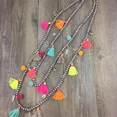 Nepal-Ethnic-Long-Tassel-Shell-Indian-Hippy-Pom-Pom-Beaded-Necklace-Tribal-Boho
