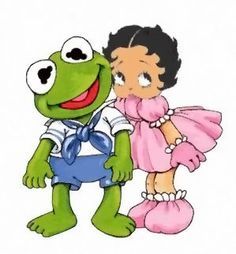 BABY BOOP & BABY FROGY...WHO RATHER BE GREEN!..