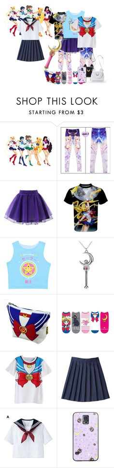 """Sailor Moon"" by eliemoe ❤ liked on Polyvore featuring Usagi, Chicwish, French Toast and Bandai"