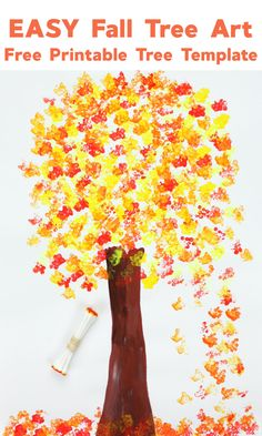 So easy to set up and such fun to create! #falltreeart #falltreecrafts #falltreecraftsforkids #easyfallcrafts #falltrees #falltreeart #qtippainting #printingwithqtips #craftsforkids #autumtrees #knutselen #knutselenmetkinderen Easy Fall Crafts, Thanksgiving Crafts, Diy And Crafts, Crafts For Kids, Autumn Art, Autumn Trees, Autumn Leaves, Cherry Blossom Tree, Blossom Trees